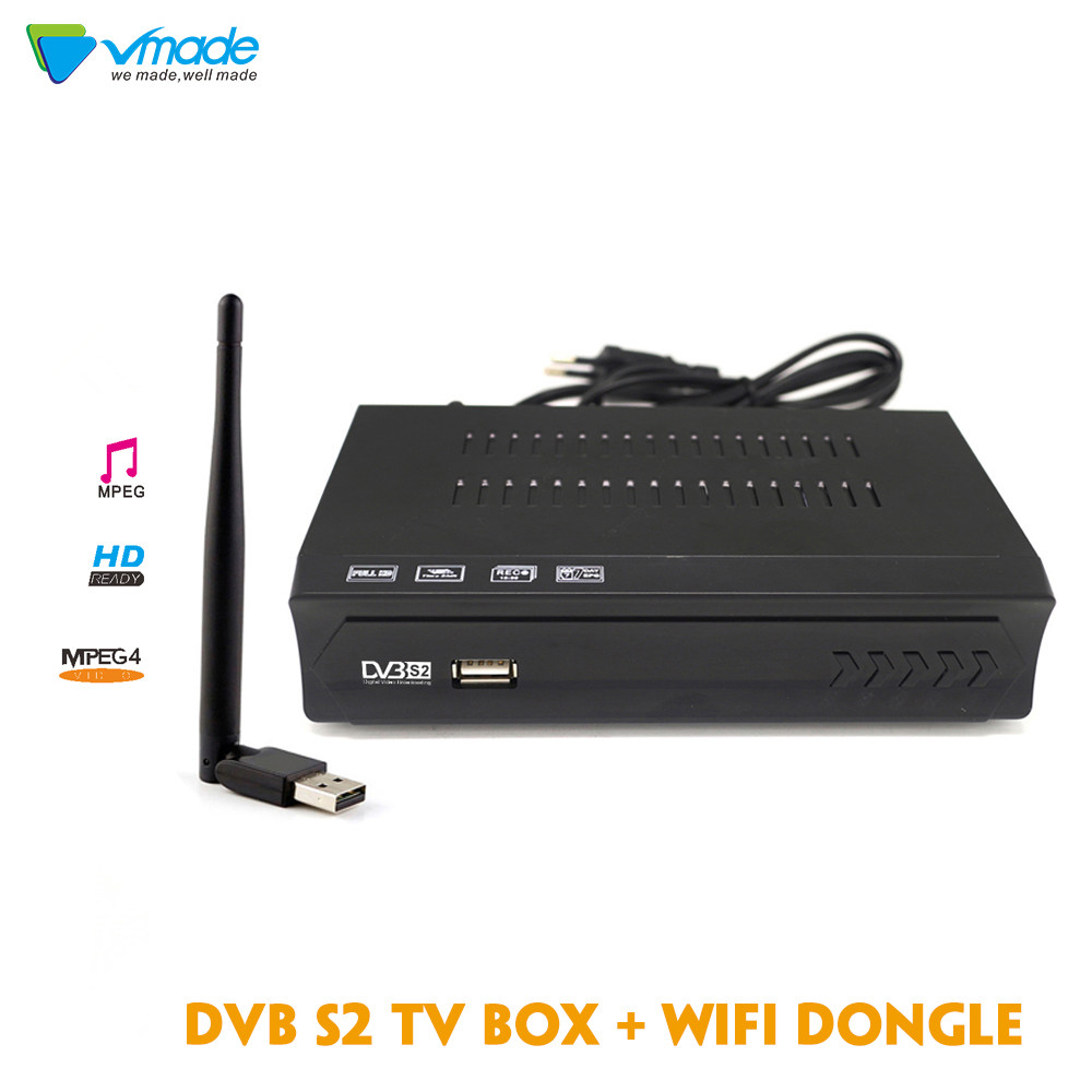Vmade 1080P Full HD DVB S2 M5  Satellite TV Receiver  Support Line Satellite Receiver with USB WIFI  Set top box Media Player-in Satellite TV Receiver from Consumer Electronics