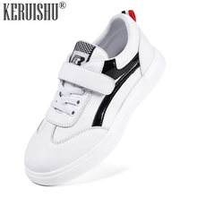 цены KERUISHU New White Casual Kids Shoes Boys Genuine Leather Sneakers for Boy Flat Shoes Children Soft Non-slip Rubber Bottom Shoes