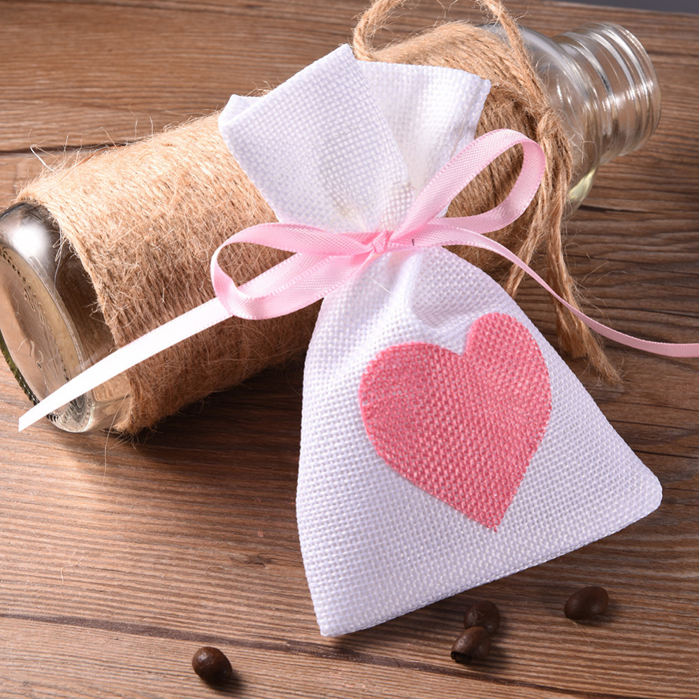 12Pcs/Set Fashion White Linen Drawstring Wedding Favor Bags Pouch ...