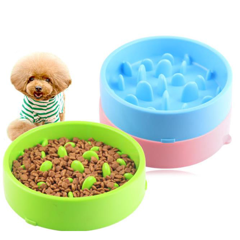 Plastic Food Storage for Dogs Cats Slow Feeder Pet Dog Feeding Dish Easy Clean Dog Bowl Prevent Choke Indoor Outdoor Use image