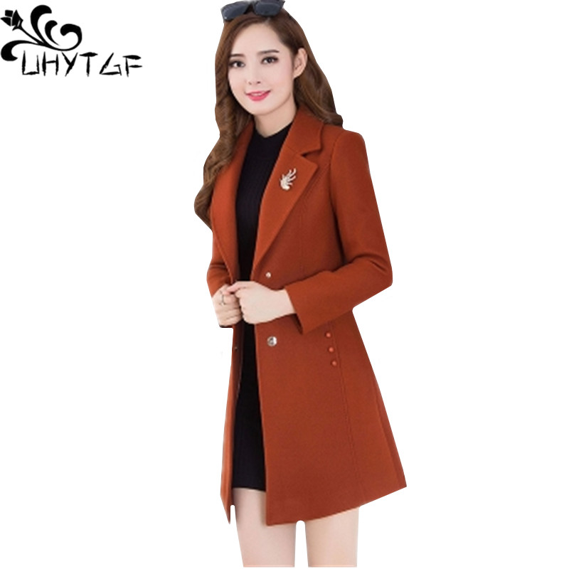 UHYTGF Autumn New Women Windbreaker Outerwear solid color plus size Wool Coat Single breasted Long sleeve
