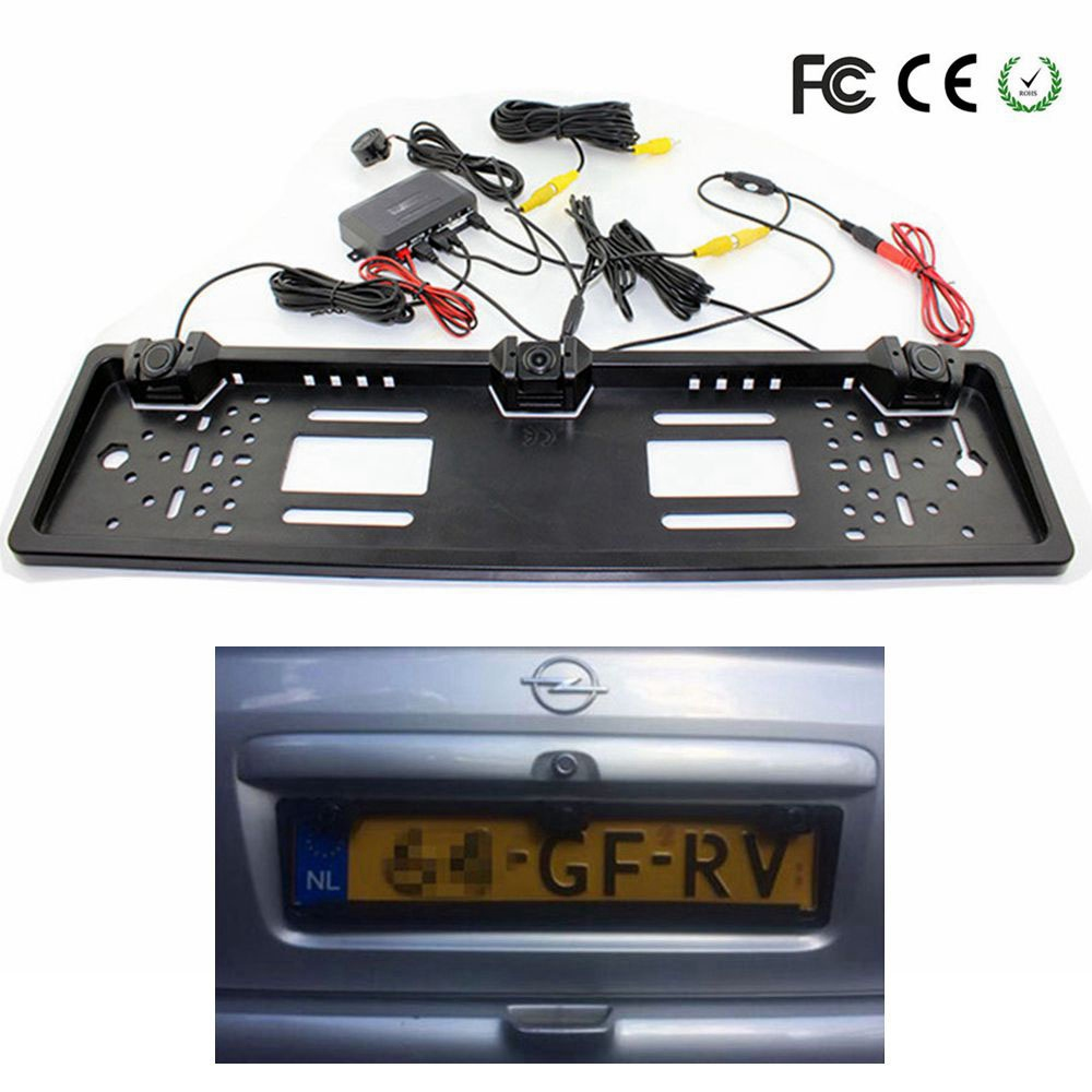 1 European License Plate Frame + 1 Car Rear View Camera + 2 Parking Sensor Auto Number Plate Frame for License Plate Car-styling carbon fiber automotive license plate frame sgx regulatory license car license plate frame for mini cooper