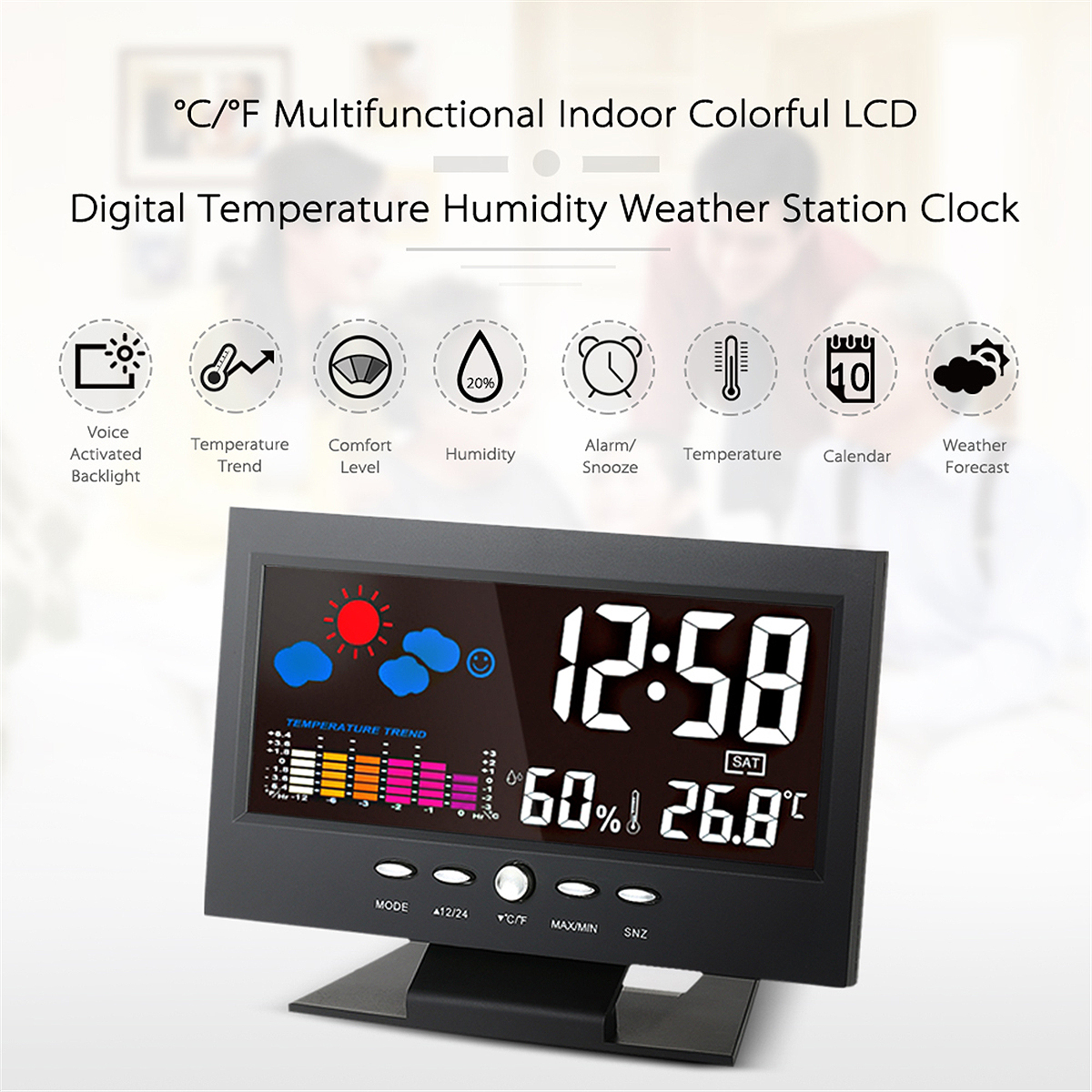 цена на 1Pcs Digital Thermometer Hygrometer Weather Station Alarm Clock Colorful LCD Backlight Calendar for Home for Car