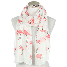 Winfox 2019 Fashion White Red Flamingo Scarfs Shawl For Ladi