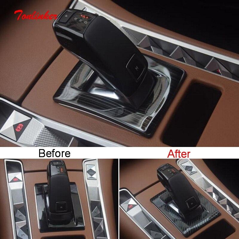 Tonlinker Interior del coche de Panel Cover caso pegatinas para Citroen DS7 2018-19 estilo de coche 1 piezas de acero inoxidable cubierta de pegatinas
