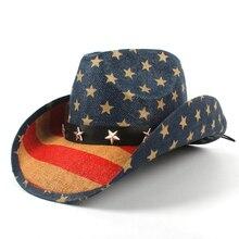 Sombrero vaquero de paja de mujer con bandera americana de Estados Unidos  para papá Sombrero occidental Hombre vaquero gorras de. b08499d1f2a