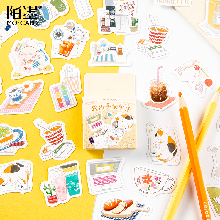 45pc\My Account Life DIY Creative Cute Retro Stickers Magazine Album Diary Calendar Scrapbook Student Stationery Office Supplies