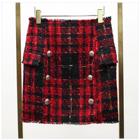 high quality autumn winter women tweed skirts double breasted high waist skirts wool plaid red mini short skirts runway Q047