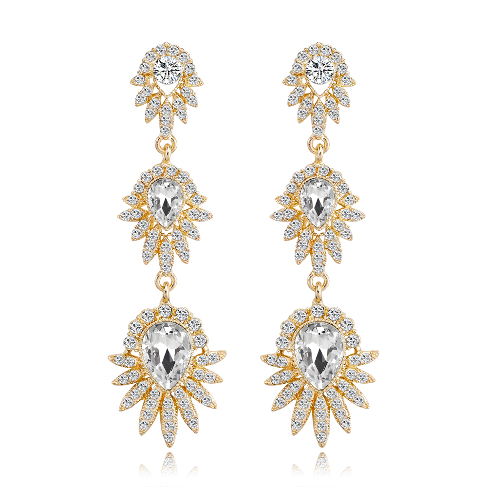 2018 Vintage Metal Earrings Rhinestone Long Earrings for Best Friends Party Women's Earrings Pendant Wedding fashion Jewelry