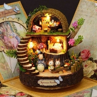 DIY Assembled Resin Anime Cottages Music Box My Neighbor Totoro Birthday Gift Fantasy Forest Candy Cat Figurine 5 Piece