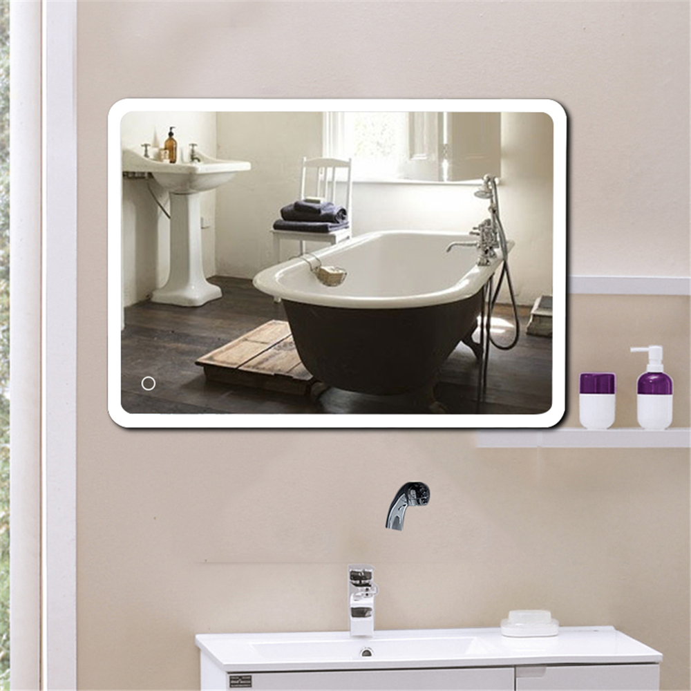 Modern Bathroom Mirror Lcd Light Up Cosmetic Make Up Mirror Touchable Frameless Mirror Wall Mount Lighted Vanity Mirror Hwc Bath Mirrors Aliexpress