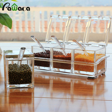 Spice Jar Seasoning Rack Spice Pots 4 Piece Acrylic Seasoning Box Storage Container Condiment Jars Cruet with Cover Spoon Tray