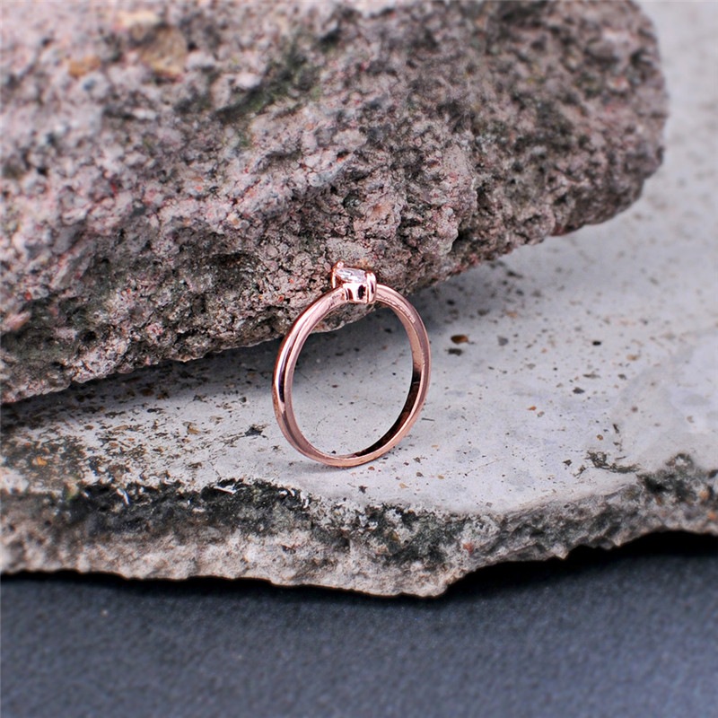 ROMAD Rose Gold Color Crystal Ring AAAAA Cubic Zrconia Wedding Engagement Party Ring For Women Girl Gift Fashion Jewelry R4 in Wedding Bands from Jewelry Accessories
