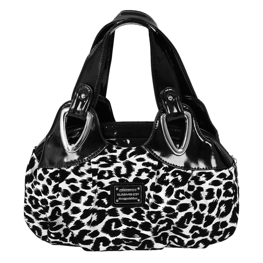Fashion handbag Women PU leather Bag Tote Bag Handbags Satchel -Black+white leopard