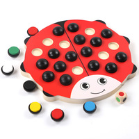 Montessori Wooden Memory Game Cartoon Anime Ladybug Chess Game Toys Brain Teaser Learning Education Puzzle Party