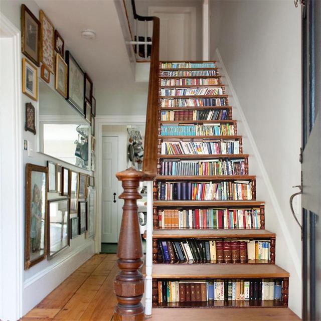 moderne treppe bucherregal, 13 stück bücherregal 3d stairway aufkleber moderne diy wandaufkleber, Design ideen