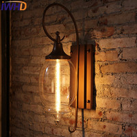 IWHD Glass Out Door Loft Wall Lamp Iron Vintage Retro Industrial Wall Light patio Antique Lampen Stair Applique Luminaire