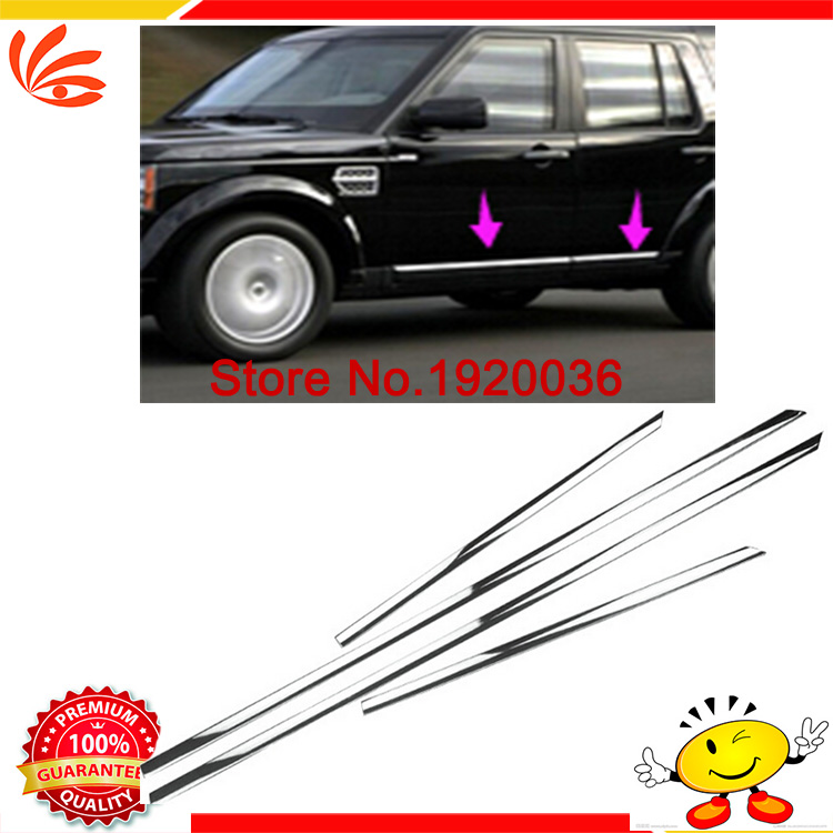 Car styling Chrome Body Side Door Trim Molding Exterior cover For Discovery 4 Door Side Molding Trim Side Door Trim abs chrome body side door trim molding exterior cover for hyundai santa fe ix45 2013 2015 door side molding trim side door trim