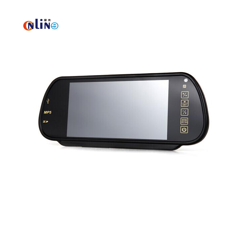 Online/ Car electronics 7″ TFT LCD MP5 Car Rearview Mirror Monitor Screen USB  SD  2-Ch Video Input For Rear View Reverse Camera