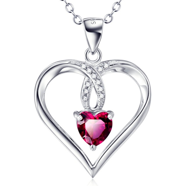 Yafeini 925 sterling silver fashion jewelry romantic love heart yafeini 925 sterling silver fashion jewelry romantic love heart pendants necklaces red crystal love heart necklace mozeypictures Images