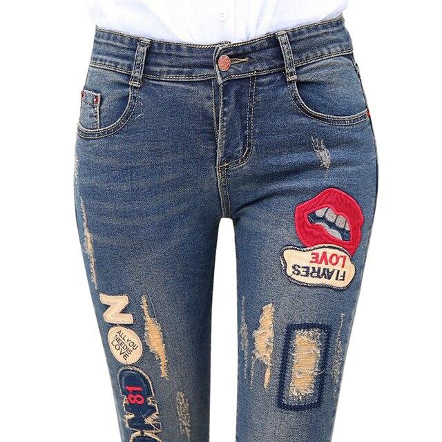 0912e1c010 2016 New Lip Denim Pants Ripped Hole Elastic Ladies Skinny Pencil  Pantsembroidery Lips Letter Jeans Trousers