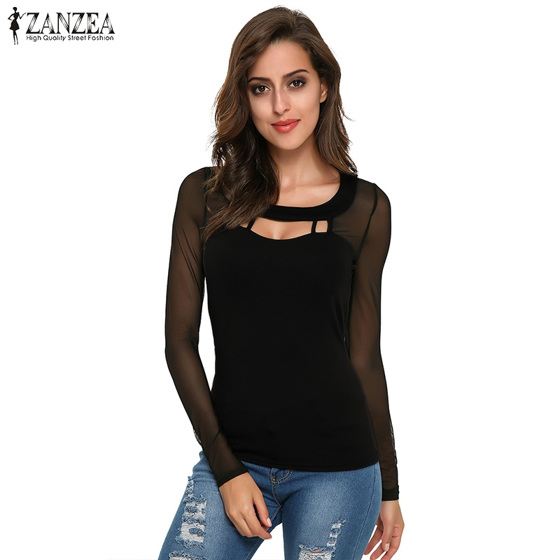 5925eded3df ZANZEA 2018 Autumn Black Tops Women Blouses Long Sleeve O Neck Solid Sexy  Hollow Out Patchwork
