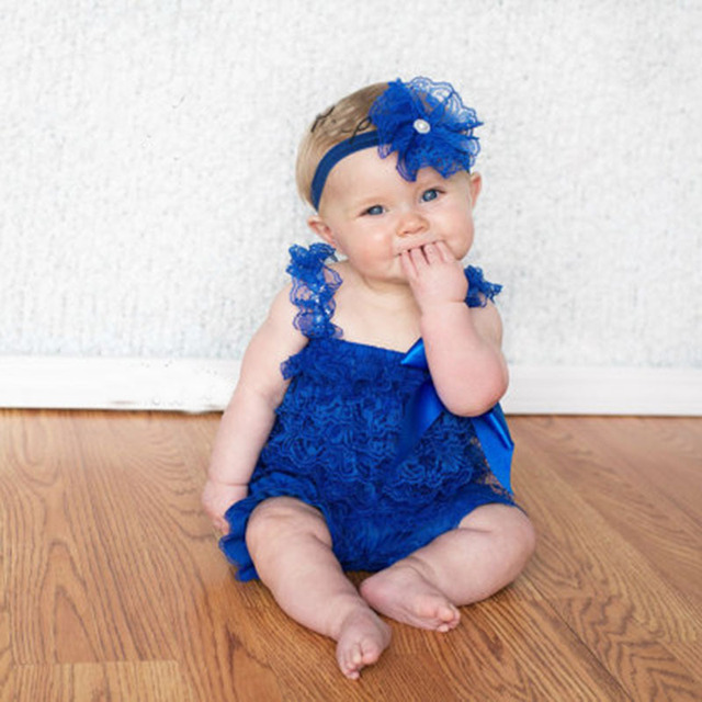 6bbca0dc2f2 Hot Baby Royal Blue Lace Romper Infant Girls Boy Posh Petti Ruffle Strap  Romper with Ribbon Bow and Headband Kids Jumpsuit Cloth