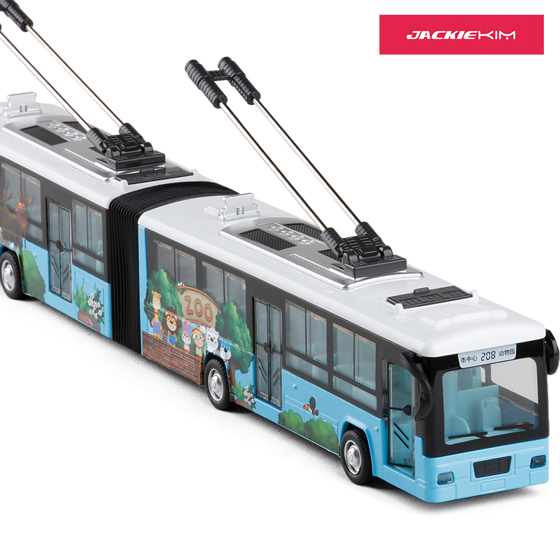 High Simulation 1:48 City Trolleybus Double Bus Alloy With Sound Pull Back Double Bus Model For Kids Toy Car Gifts Free Shipping