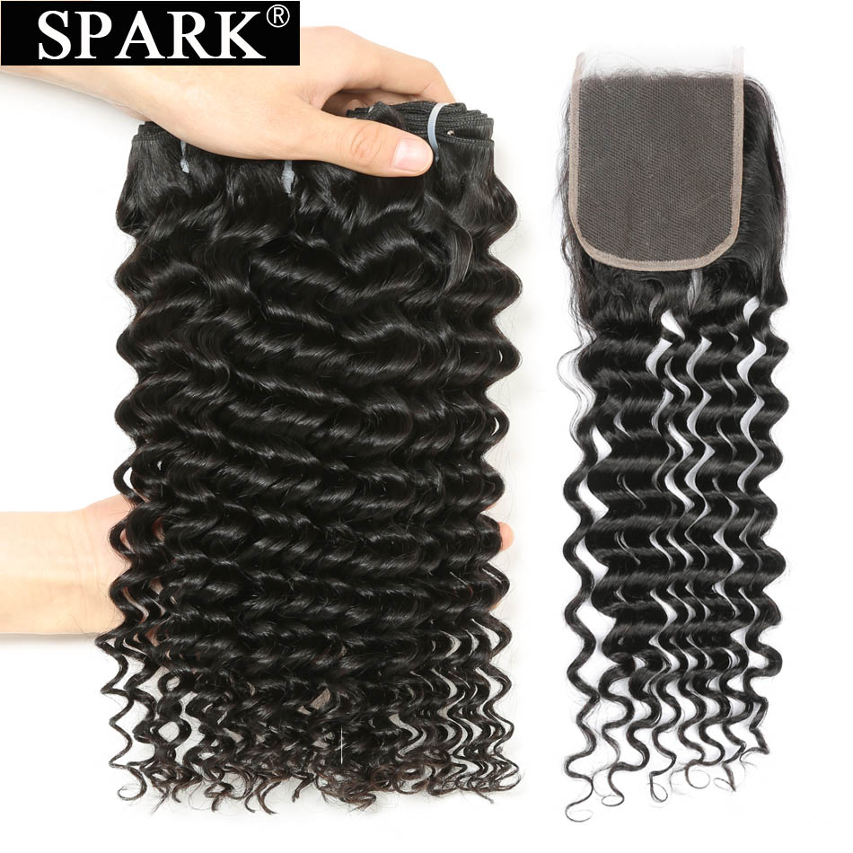 Spark Remy Hair Deep Curly Bundles With Closure Brazilian Human Hair Weave Bundles With 4 4