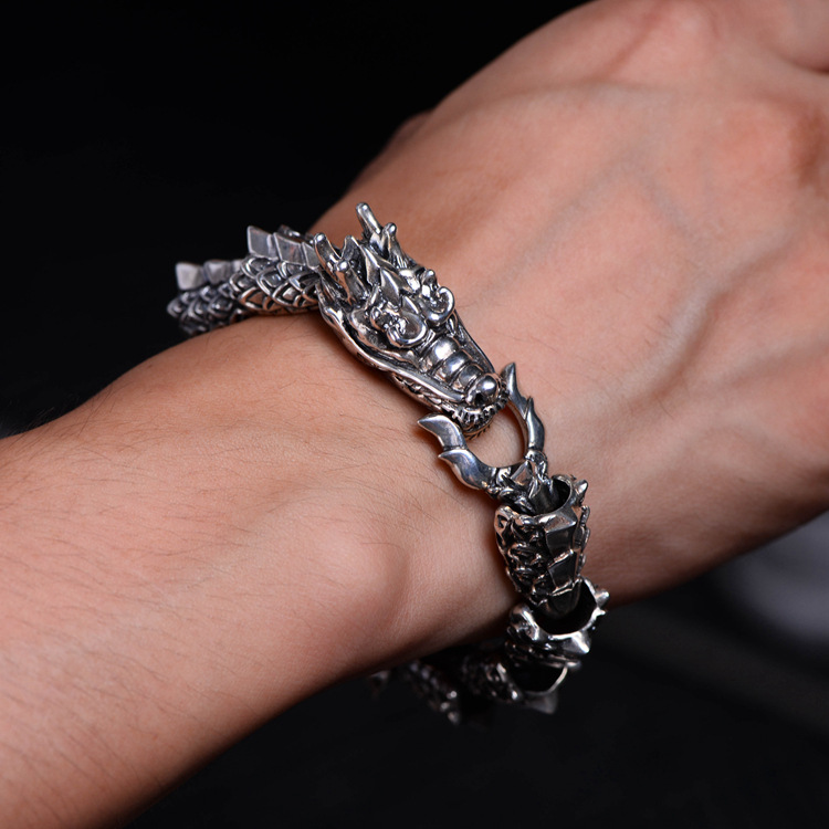 925 Sterling Silver Dragon Bracelet & Bangle Men Vintage Punk Rock Bracelets Biker Gothic Jewelry Pulsera Hombre trustylan cool stainless steel dragon grain bracelets men new arrival punk rock keel mens bracelets