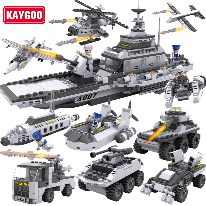 KAYGOO Building Blocks Aircraft airplane ship Bus tank police city Military Carrier 8 in 1 Model Kids Toys Best Kids Xmas Gifts aircraft carrier ship military army model building blocks compatible with legoelie playmobil educational toys for children b0388