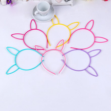 Hot Sale Rabbit Ears Hairband Cute Colors Plastic Long Hairbands Fashion Hairsticks For Kids Party Hair Bow 0.6CM 2PCS/lot