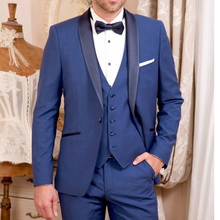 Blue Wedding Groom Tuxedos for Man Ceremony Prom Suit 3 Piece Smoking Business Party Men Suits Custom Made Jacket Vest Pant new style kid party graduation suit wedding page boy tuxedos custom made 2 piece