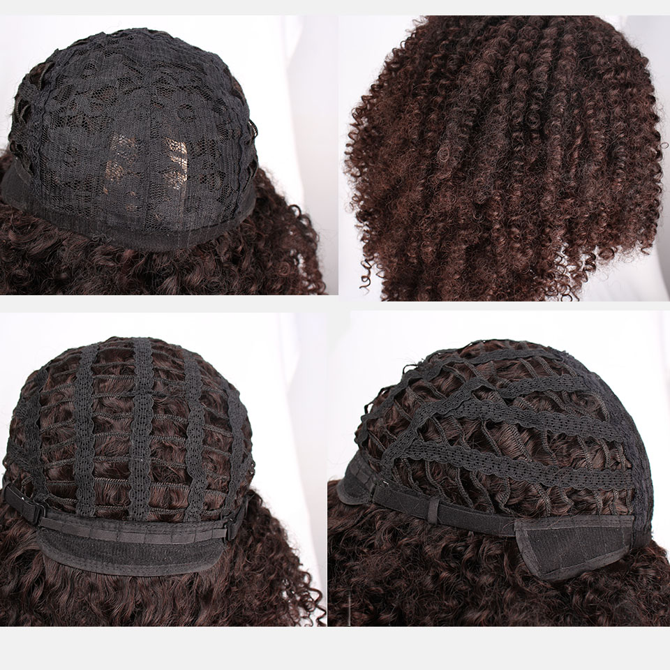 Image 5 - 14 Inches Short Afro Wig Brown Synthetic  kinky Curly Wigs for Women 10 Colors Ombre Fluffy  African American Natural Black HairSynthetic None-Lace  Wigs   -