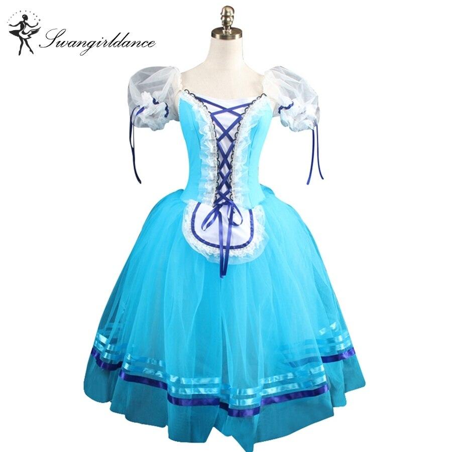 Le ragazze blu giselle Balletto abiti rosa Romantico costumi di balletto marrone del manicotto di soffio di balletto professionale tutusBT8904