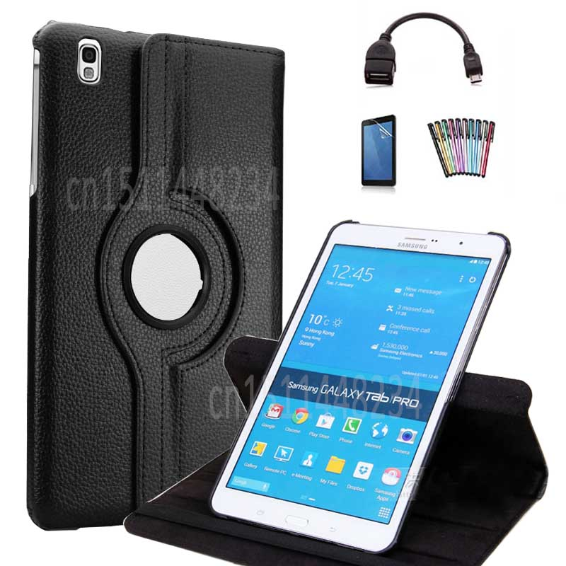 For Samsung Galaxy Tab Pro 8.4 SM-T320 T321 T325 360 Degree Rotating PU Leather Flip stand Tablet case Cover Fundas+OTG+Film+pen аксессуар чехол samsung galaxy tab a 7 sm t285 sm t280 it baggage мультистенд black itssgta74 1