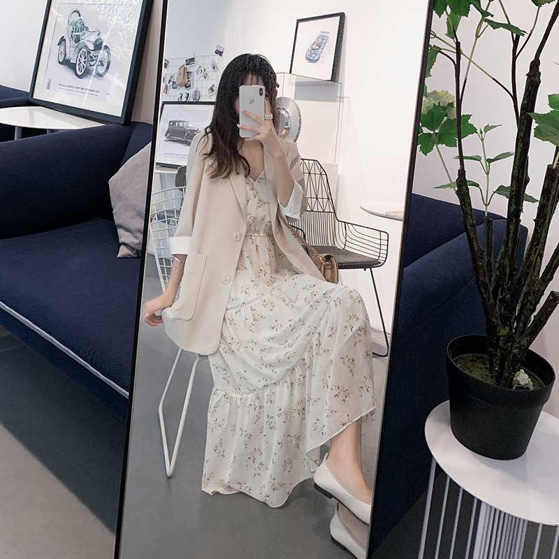 Mishow 2019 женское Новое модное милое платье с бретельками и v-образным вырезом без рукавов с цветочным принтом Летнее Длинное Платье MX19B1191