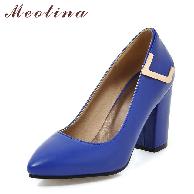 579379eae5a Meotina Women Shoes High Heels Elegant Ladies Pumps Thick Heel Pointed Toe  Female Shoes 2018 Spring Blue Black Plus Size 34 43-in Women's Pumps from  ...