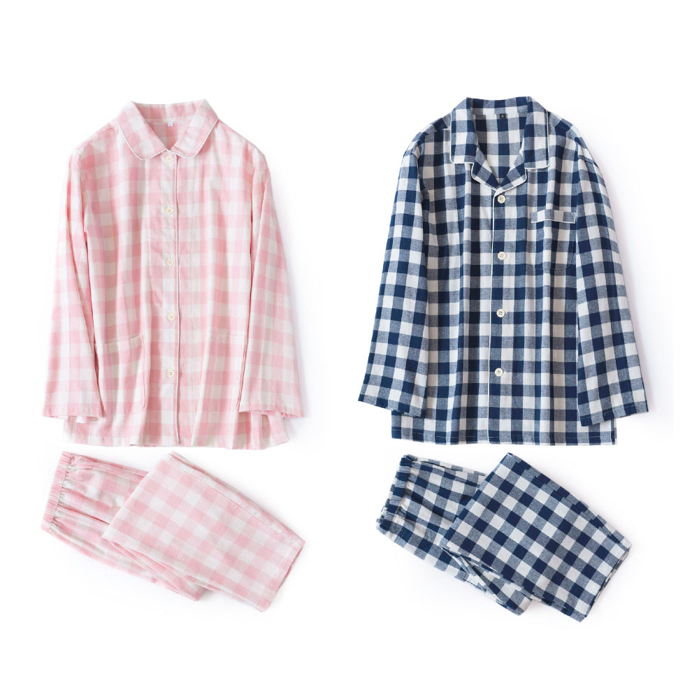 Autumn Winter Brushed Cotton Pajamas Sets Women Napping Pijama Feminino Couple Sexy Plaid Men Sleepwear Pyjama Femme
