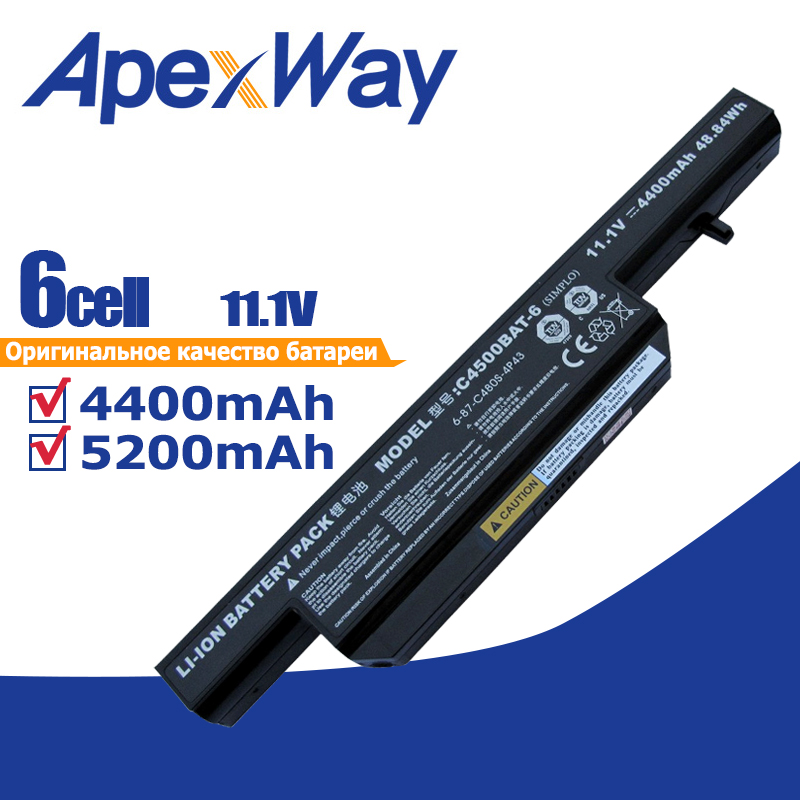 6 Cells 11.1v Laptop Battery For Clevo C4500 C4500Q C4501 C4505 W150 C4500BAT-6 6-87-C480S-4P4 C4500BAT 6 KB15030 W150ER