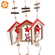 1PCS Beautiful DIY Creative Wooden Christmas Pendants Decoration Bell Wood Crafts Christmas Ornaments