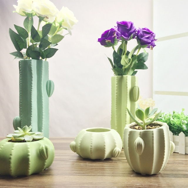 Creativity Green Ceramic Succulent Flower Pot Porcelain Vase Table