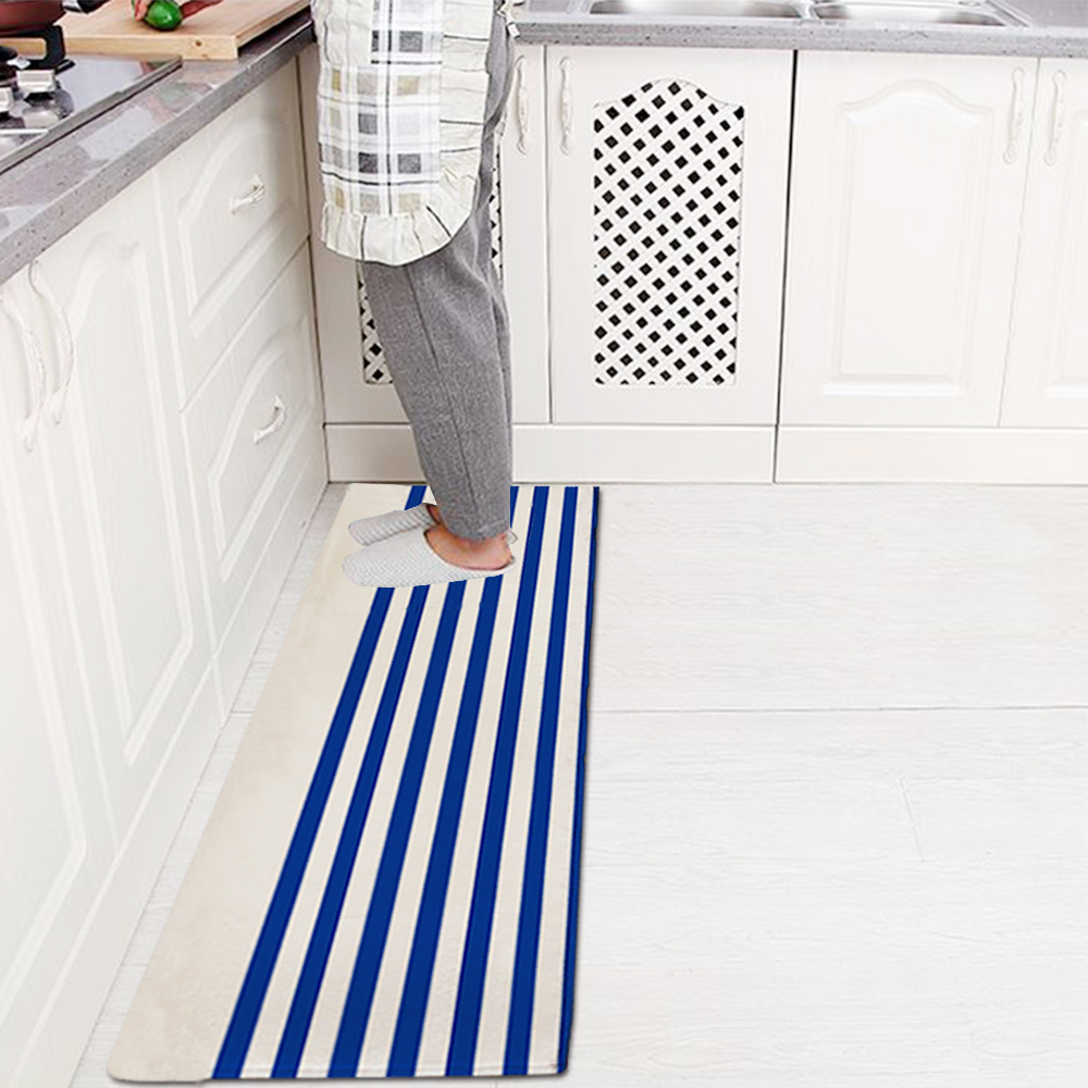 divertido azul blanco rayas cocina felpudo alfombra alfombrilla