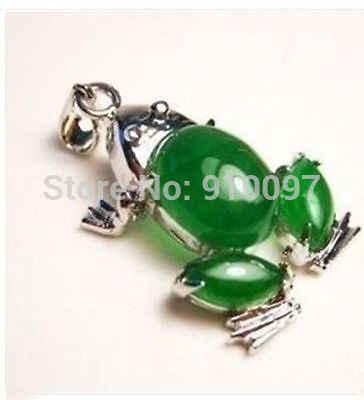G!! HBeautiful sapo verde jade colar pingente + Cadeia