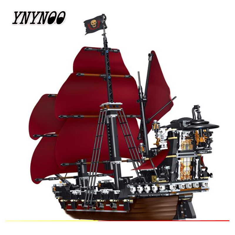 YNYNOO 39008 1222pcs Queen Anne\'s Revenge Pirates Of Caribbean Lele Building Block Compatible legoings 4195 Brick Toy new movie queen anne s revenge pirates of caribbean fit legoings ship city figures model building block bricks 4195 gift kid toy