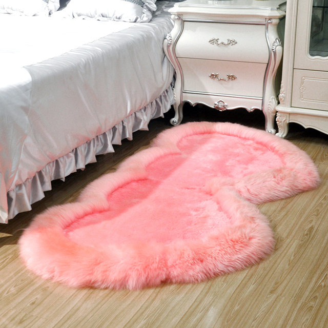 sheepskin carpet fur one piece sofa cushion blanket bedside mat ...
