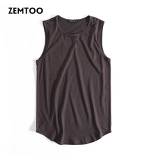 Brand Men Summer Hip Hop Long Tank Tops Men's White Black Tee Tops Vest Fashion Sleeveless Cotton Solid Undershirts Male Tanks