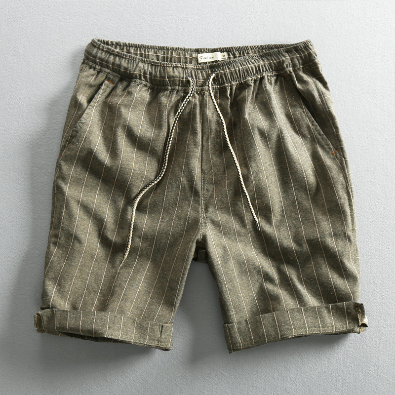 Men Summer Fashion Brand Japan Style Vintage Simple Striped Cotton Linen Shorts Male Casual Loose Thin Beach Shorts Cloth