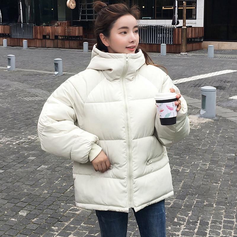 Autumn Winter Jacket Women   Parka   Down Cotton Padded Short Coat Oversized Hooded Overcoat 2019 Female New Korean Long Sleeve Tops
