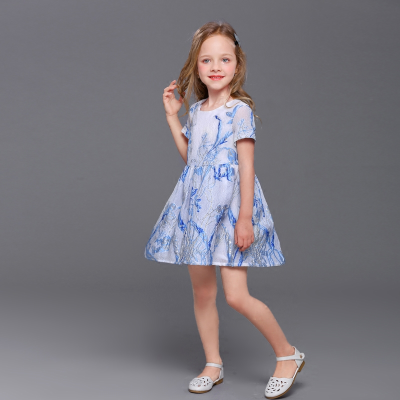 Summer Brand mother daughter dress family look cloth children embroidery organza pleated dress kids mom and girls matching dress contrast trim pleated night dress